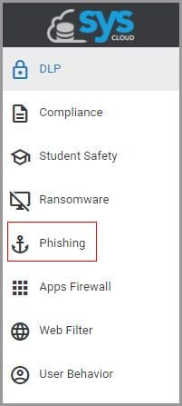 0. Click on the phishing option on the left pane