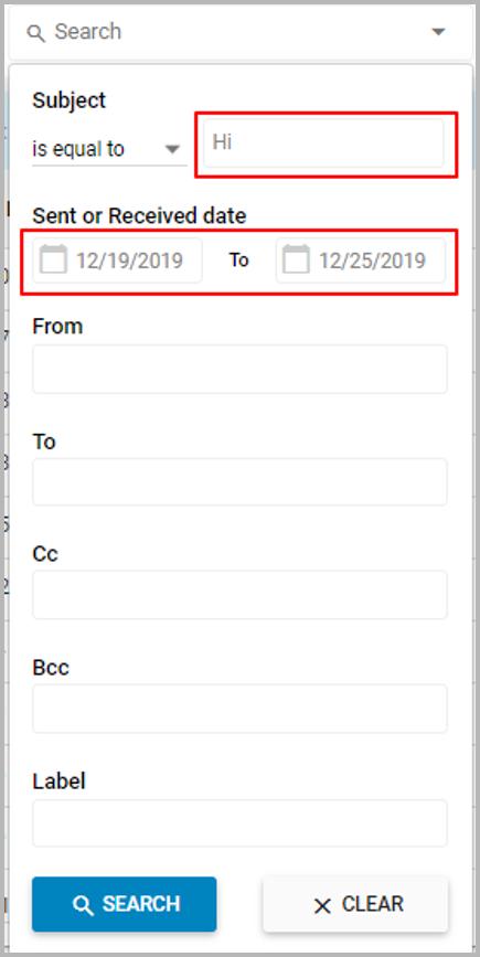 Advanced Seach - Mail