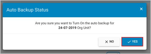 Auto backup status