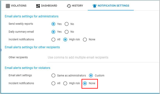 Email alerts settings