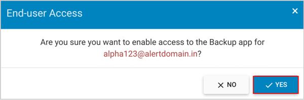 End-user access confirm