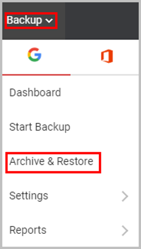 G Suite backup and restore option