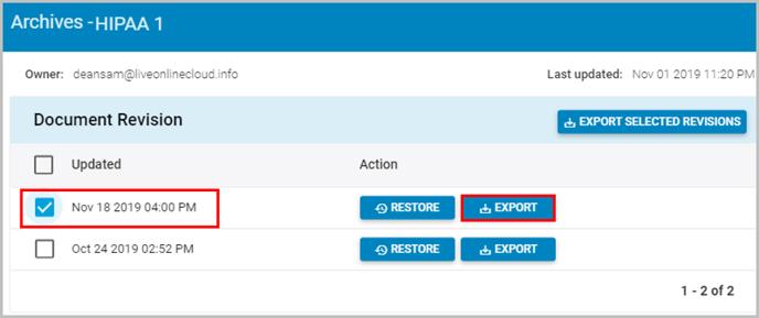 Office 365 export document version