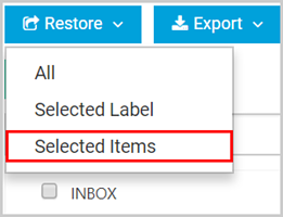 Office 365 restore selected items