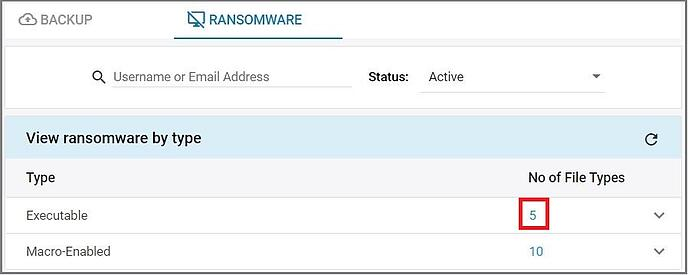 Ransomware number of file types
