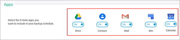 Select the G Suite services