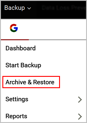 Select the archive & restore option