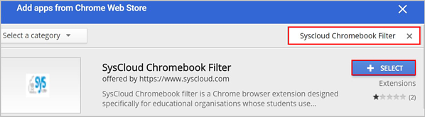 SysCloud Chromebook Filter