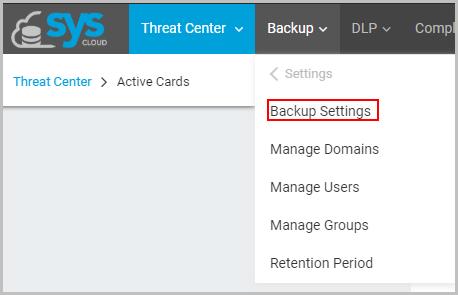 SysCloud backup settings