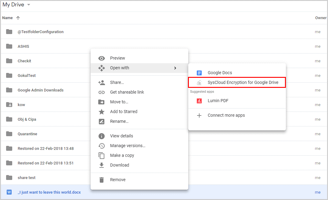 SysCloud Encryption for Google Drive