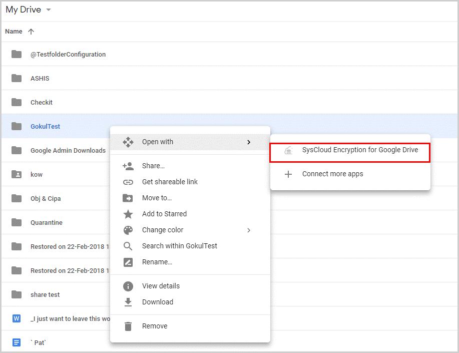 SysCloud Encryption - Google Drive