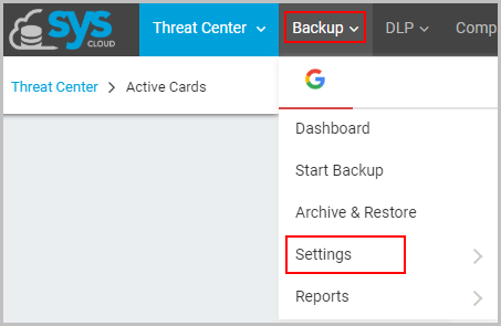 Backup setting option